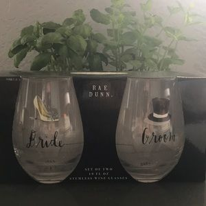"Rae Dunn ""bride"" ""groom"" wine glasses"